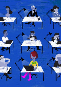 Businesswoman standing out from the crowd in rows of happy office workers sitting at desks
