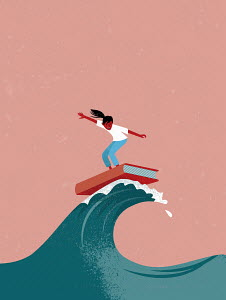 Young girl surfing on book surfboard