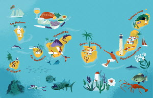 Illustrated tourism map of the Canary Islands, Spain