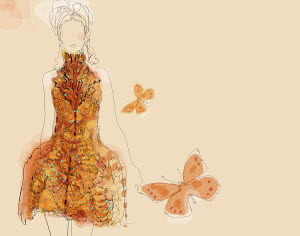 Elegant woman wearing stylish dress with orange butterflies