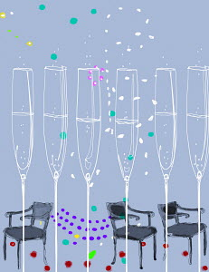 Row of champagne flutes with confetti and empty chairs