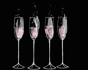 Pink champagne flutes in a row
