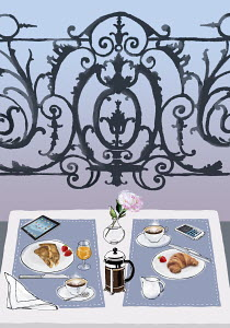 Breakfast, cell phone and digital tablet on elegant balcony table for two