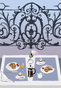 Breakfast on elegant balcony table for two