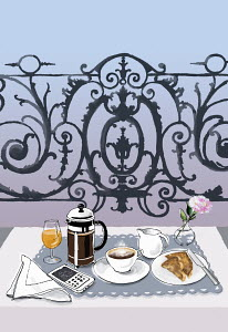Breakfast and cell phone on elegant balcony table
