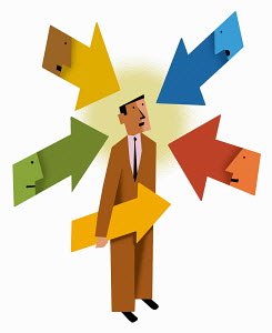 Faces in arrows pointing at businessman
