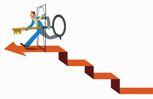 Happy businessman running through keyhole doorway at top of arrow stairs holding large key