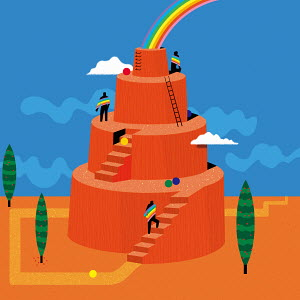 Men climbing up tiers to reach rainbow on top