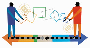 Multicolored shapes connecting men with targets on opposite ends of arrows pointing in different direction