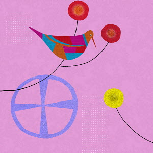 Colorful abstract of bird and simple flower heads