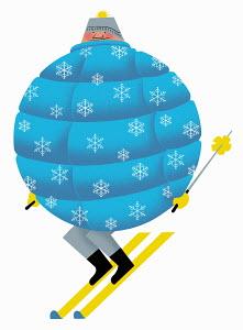 Man skiing in round puffer jacket