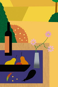 Simple still life arrangement of fruit, wine bottle and flower on table outdoors