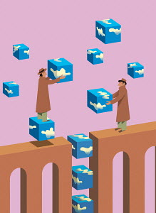Businessmen bridging gap with sky building block cubes