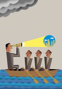 Man with telescope leading businessmen in rowboat