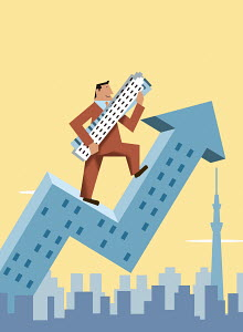 Happy businessman climbing arrow skyscraper carrying office buildings