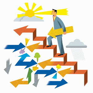 Successful businessman climbing ascending arrow staircase among confusing directions
