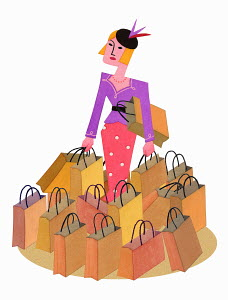 Stylish woman surrounded by lots of shopping bags