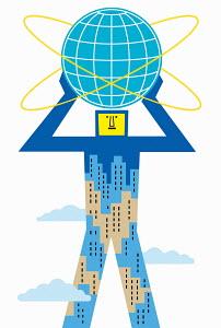 City skyscraper man holding globe above head