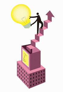 Man holding light bulb ascending staircase above smiling skyscraper