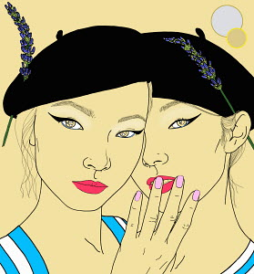 Gemini twins zodiac sign whispering together wearing berets