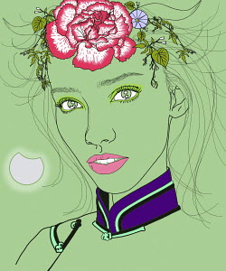 Capricorn woman zodiac sign with flowers and horns in hair