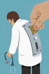 Hand inserting coin into money slot on doctor's back