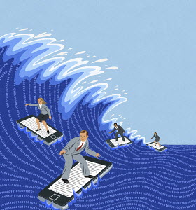 Business people surfing computer data wave on smart phones