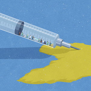 Syringe with dollar signs injecting healthcare workers into map of Africa