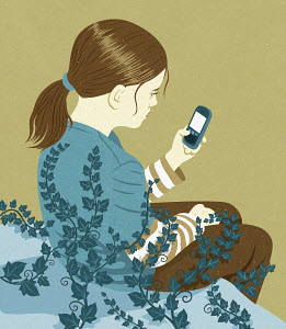 Ivy tendrils creeping over inactive girl using smart phone