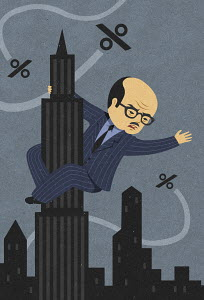 Businessman as King Kong clinging to Empire State Building fighting threatening percentage rates