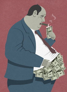 Overweight businessman lighting cigar with burning one hundred dollar bill from heap of money overflowing from shirt