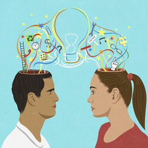 Contrasting thoughts and ideas emerging from heads of man and woman