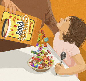 Mother pouring lots of sweets from sugary cereal packet into little girl's breakfast bowl