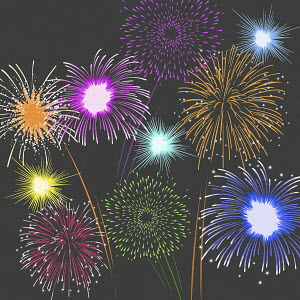 Multicolored fireworks at night