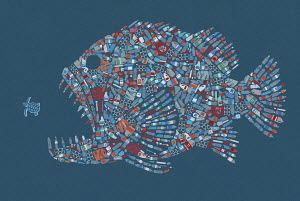 Large fish formed from plastic waste in the sea