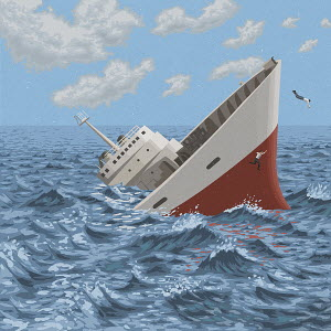 Businessmen jumping off sinking ship