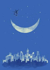 Boy skateboarding in sky on crescent moon above city
