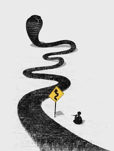 Snake charmer charming winding snake road with hazard sign