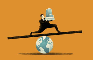 Businessman balancing office building on globe seesaw