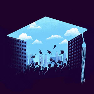 Graduates throwing mortarboards into blue sky over city financial district