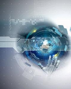 High tech hand touching cyberspace globe with binary code