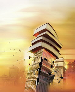 Skyscraper office building collapsing under weight of pile of books