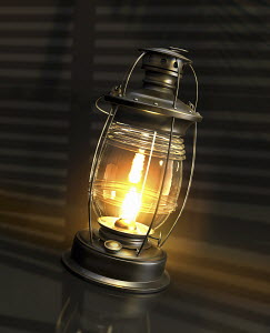 Illuminated glowing paraffin lamp
