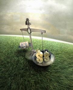 Balancing scales on green field weighing house and dollar signs