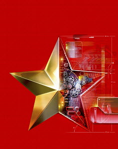 Cogs and circuit board inside of golden star on red background and map of China