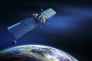 Satellite in outer space over earth