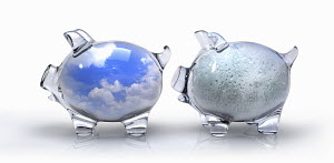 Transparent blue sky piggy bank contrasting with rain piggy bank