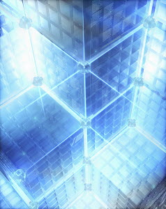 Illuminated full frame futuristic cube data organization system