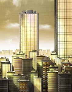 Golden skyscraper office buildings in city financial district