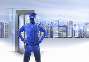 Binary code security guard standing in front of doorway to virtual city